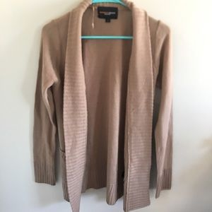 Tan cardigan with deep front pockets